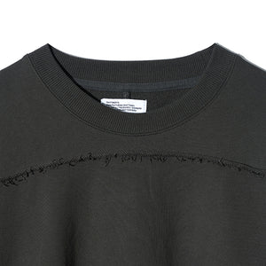 Cut Off Patch Pocket Sweat Shirt in Charcoal
