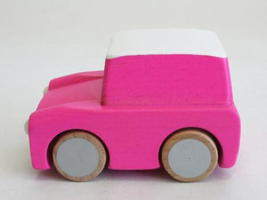 Classic Wooden Wind Up Car in Pink