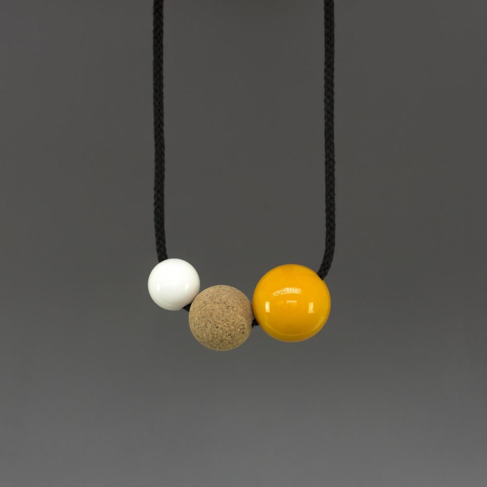 Charlotte Necklace with White Resin Ball, Cork Ball and Yellow Resin Ball