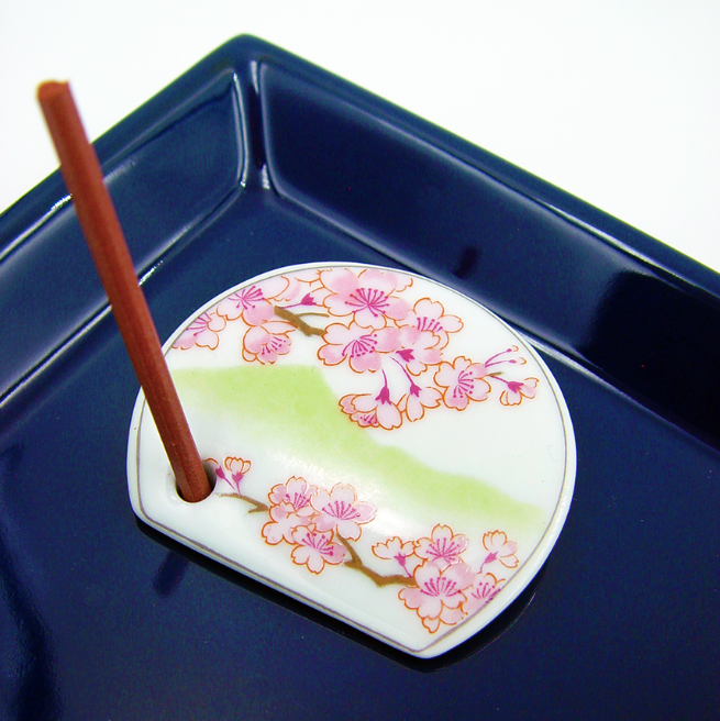 Decorative Porcelain Incense Holder with Cherry Blossom Painting