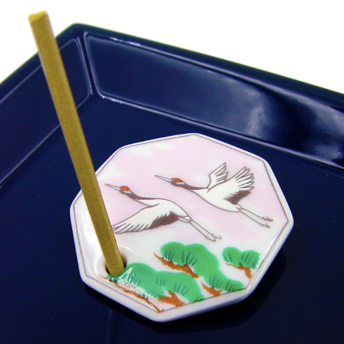 Decorative Porcelain Incense Holder with a Pair of Cranes