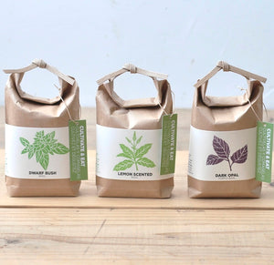 Grow Your Own Basil in Japanese Paper Bag - Dwarf Bush Basil