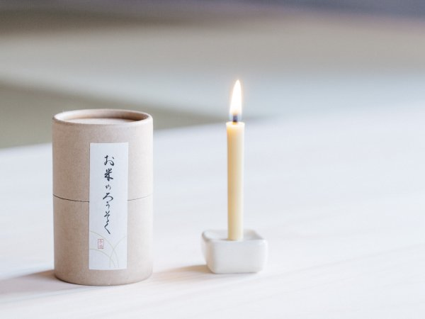 Handmade Japanese Candles and Candle Stand Gift Box
