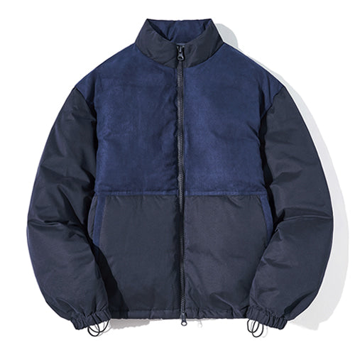 Duck Down Block Short Padded Jacket in Navy