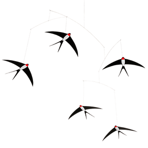 5 Flying Swallows Hanging Mobile