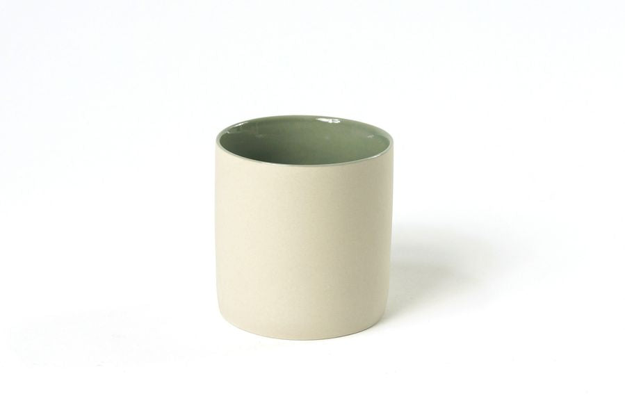 Ivory Mug with Green Glaze Inside in Small (150ml)