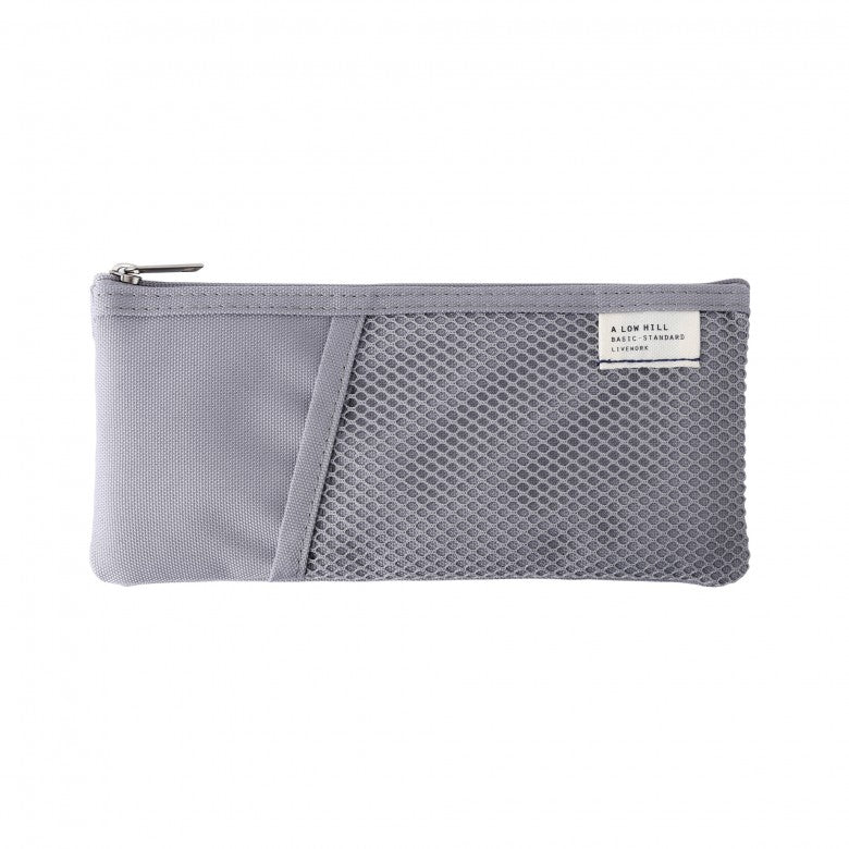 Mesh Pocket Pencil Pouch in Grey