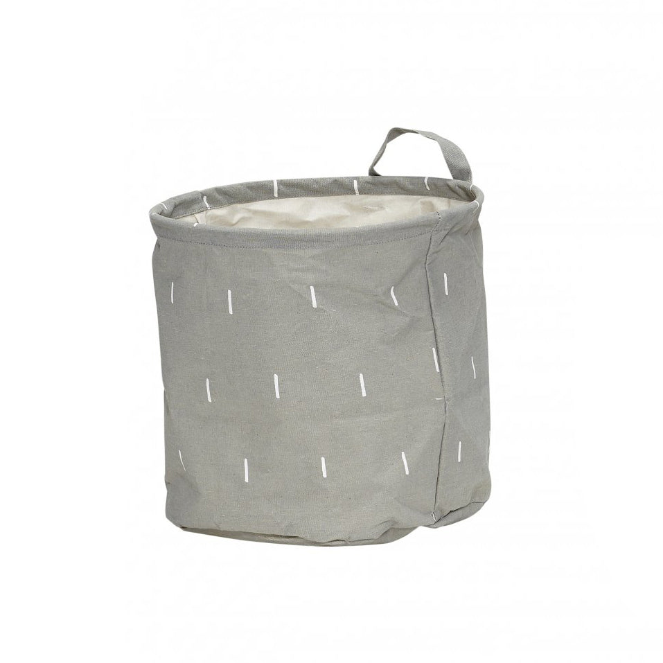 Grey Round Storage Basket with a Handle in Large