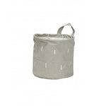 Grey Round Storage Basket with a Handle in Small