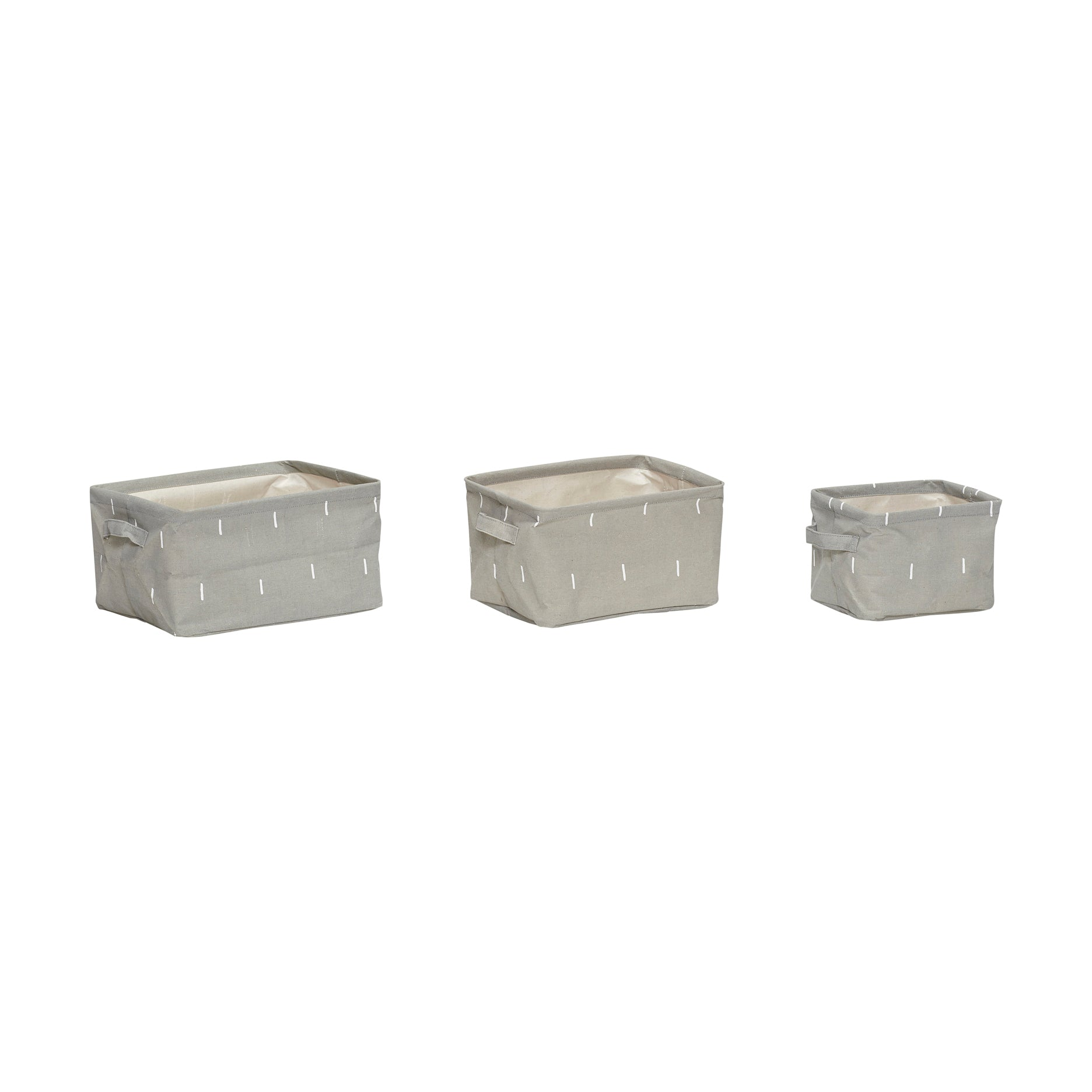 Grey Square Storage Basket with Handles in Small Size