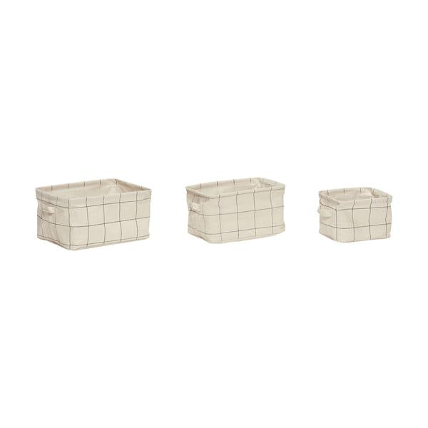 Grids Print Square Storage Basket with Handles in Small Size