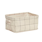 Grids Print Square Storage Basket with Handles in Large Size