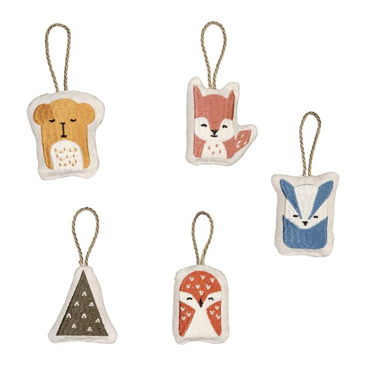 Hanging Ornaments Set of 5 - Woodland Animals
