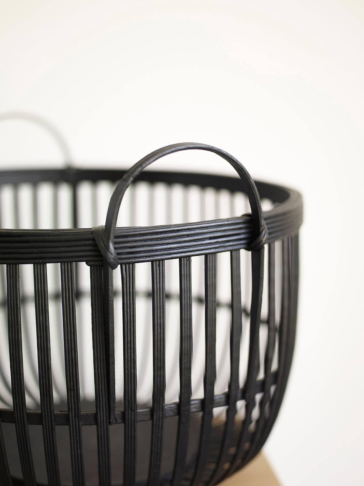 Black Round Rattan Basket with Handles in Small Size