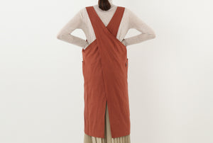Sling Back Apron Dress in Brick Orange