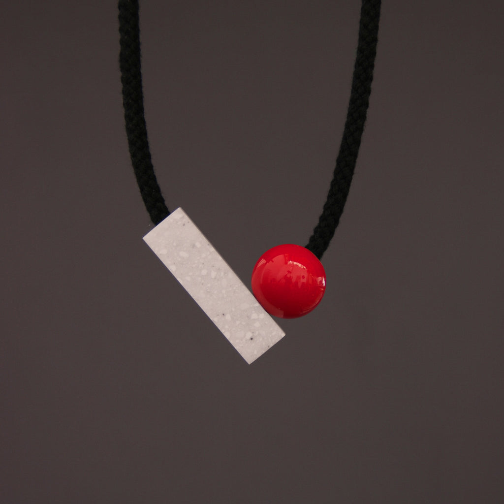 Josef Necklace with Red Ball and Grey and White Speckled Resin