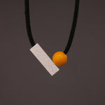 Josef Necklace with Yellow Ball and Grey and White Speckled Resin