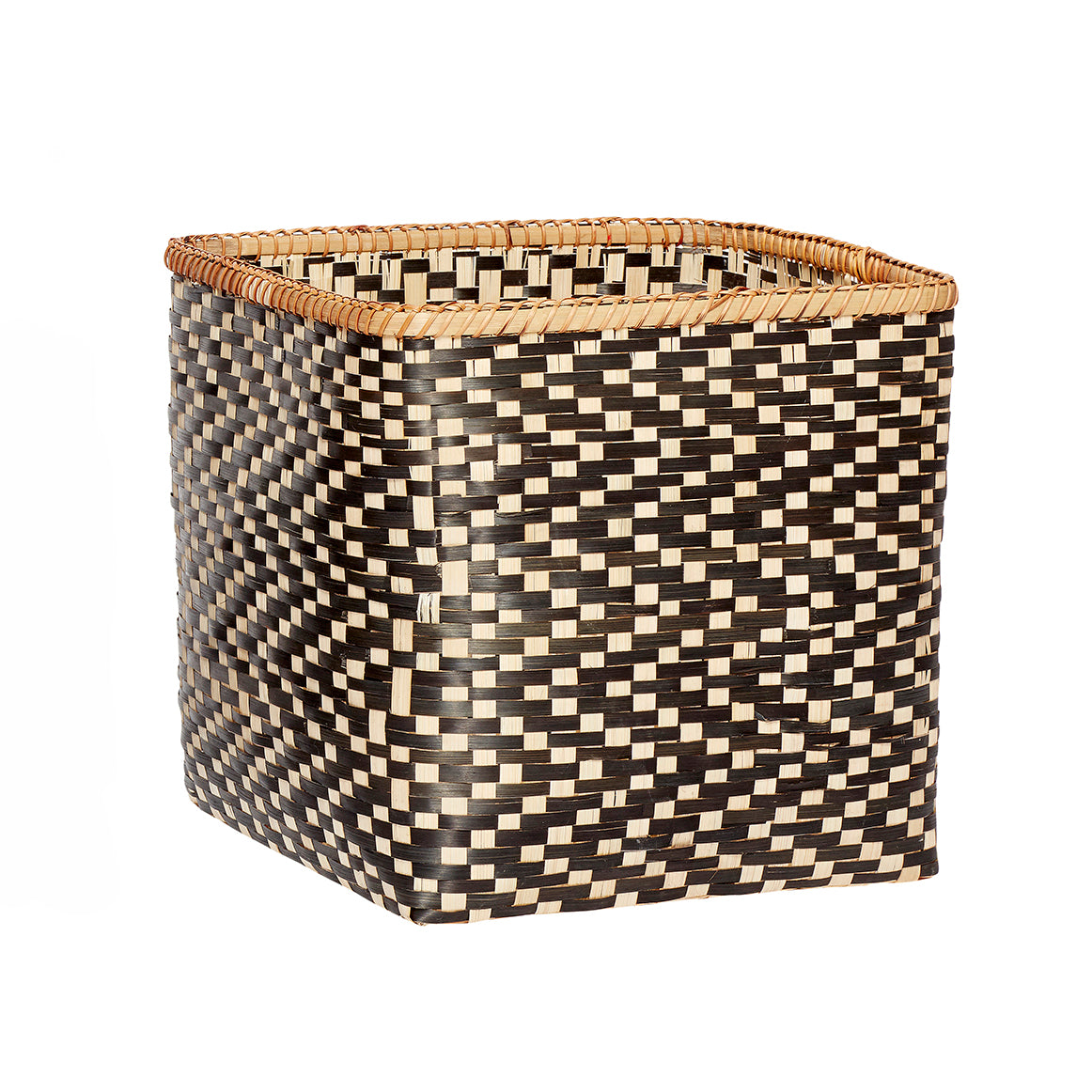 Black and Natural Bamboo Woven Square Basket in Large Size