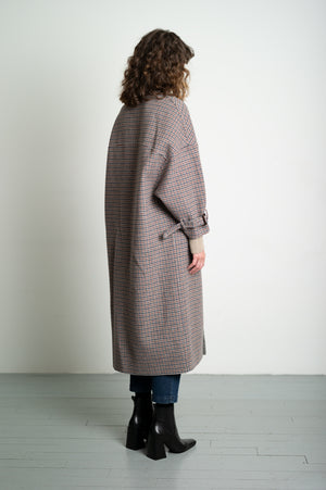 Oversized Tartan Check Pattern Wool Coat