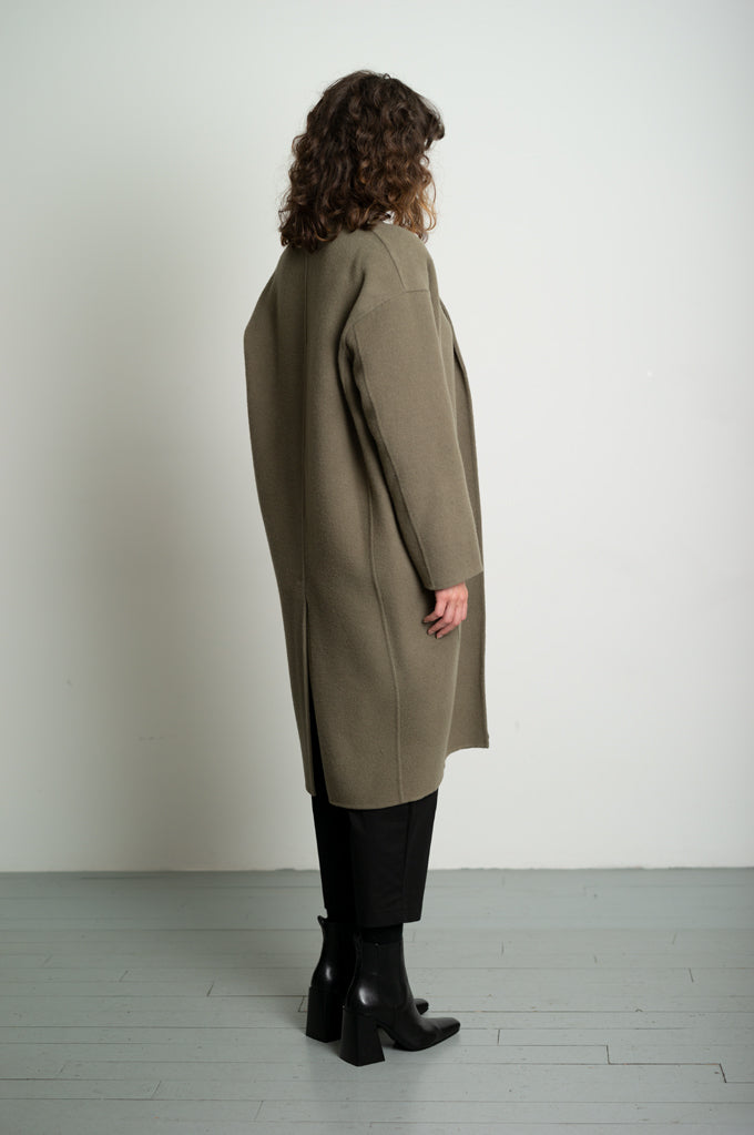 Olive Green Cocoon Style Wool Coat