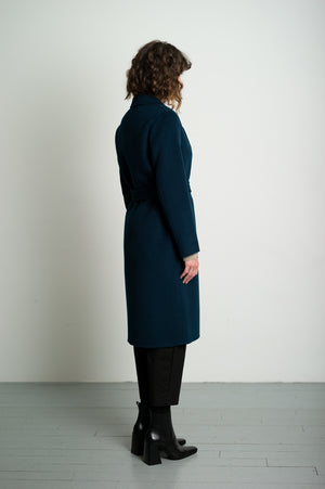 Teal Blue Slim Belted Wool Coat