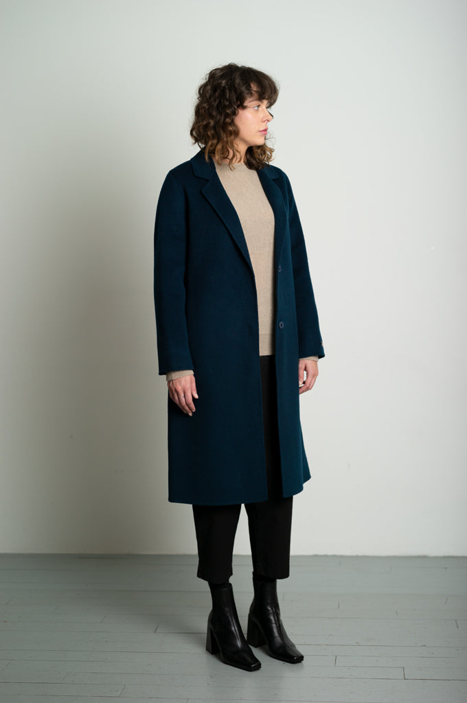 Dark Navy Slim Belted Wool Coat