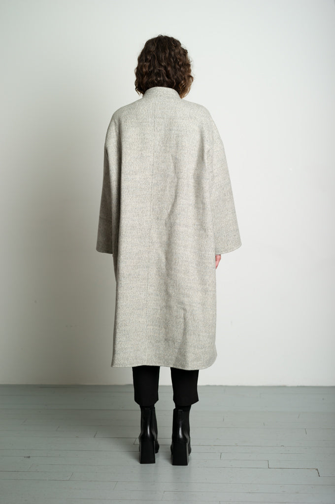 Grey Collarless Wool Mix Coat