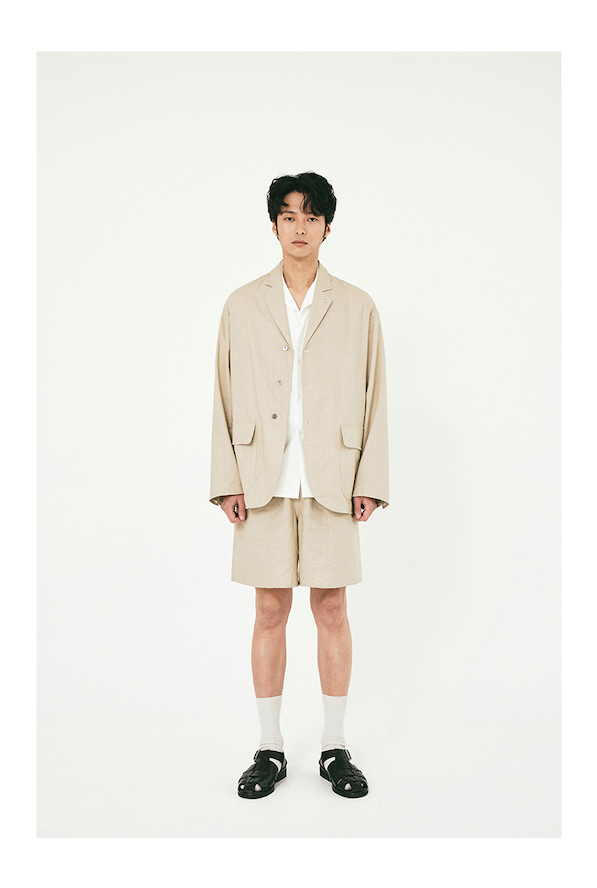 Linen Blazer Jacket + Shorts Set Up in Beige