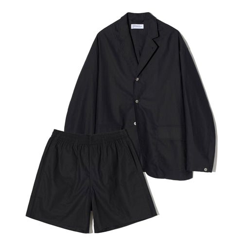 Linen Blazer Jacket + Shorts Set Up in Black