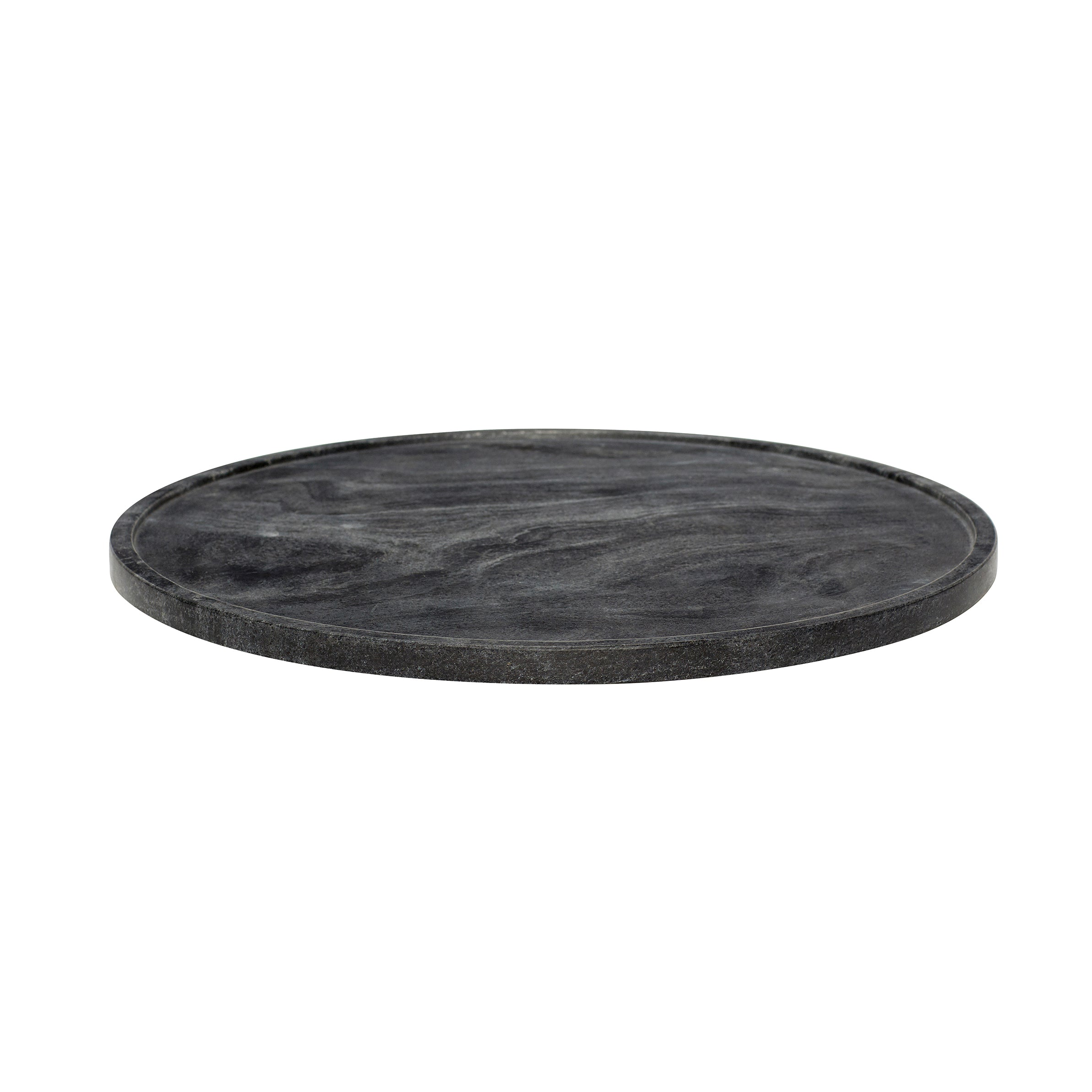 Black Round Marble Platter in Large Size