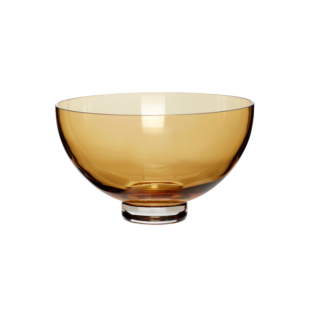 Large Fluted Glass Bowl in Amber
