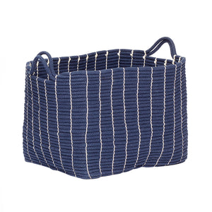 Blue Cotton Woven Basket in Large Size