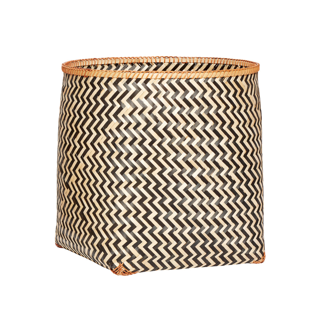 Round Bamboo Basket with Black Zig Zag Pattern in Large