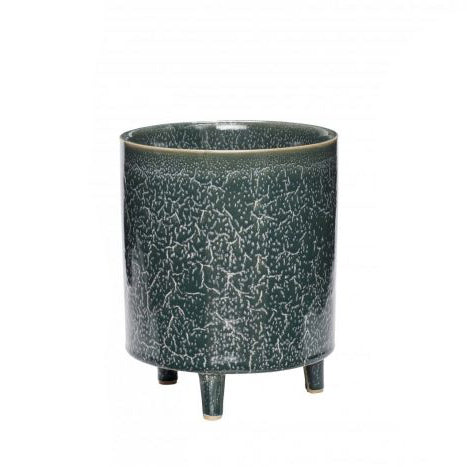 Blue/Green Ceramic Pot with Legs Large