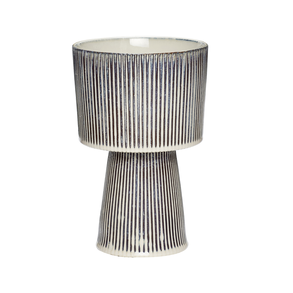 Fluted Ceramic Pot in Beige/Black Large