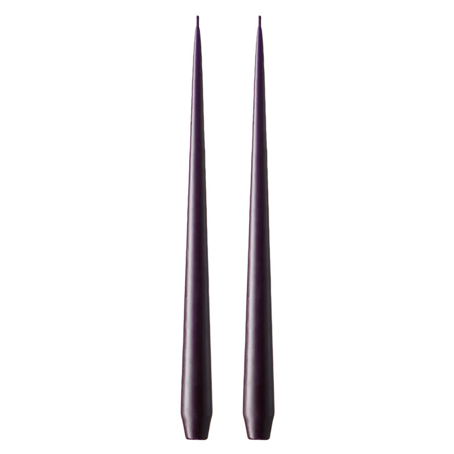 Set of Two Matte Tapered Candles in Dark Lilac(Colour No. 08/2) - 42cm Long