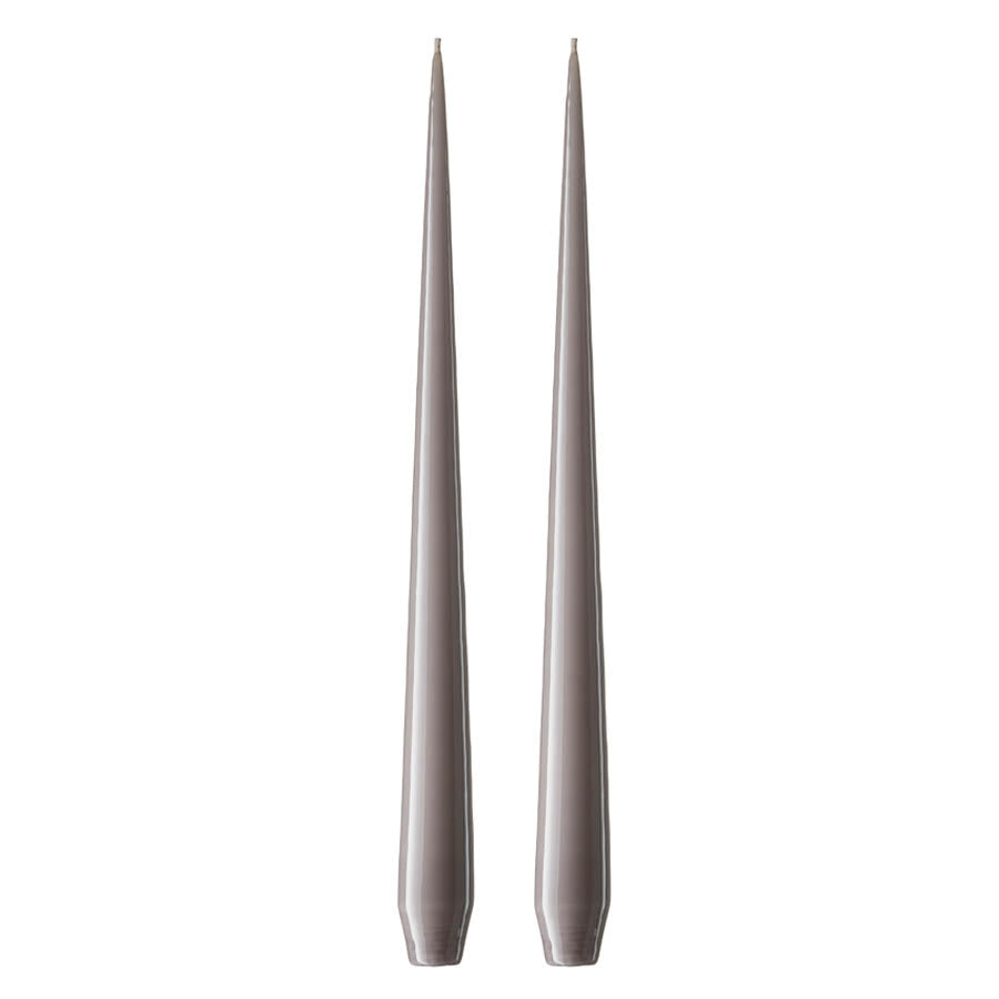 Set of Two Matte Tapered Candles in Dark Zinc Grey(Colour No. 09/2) - 42cm Long