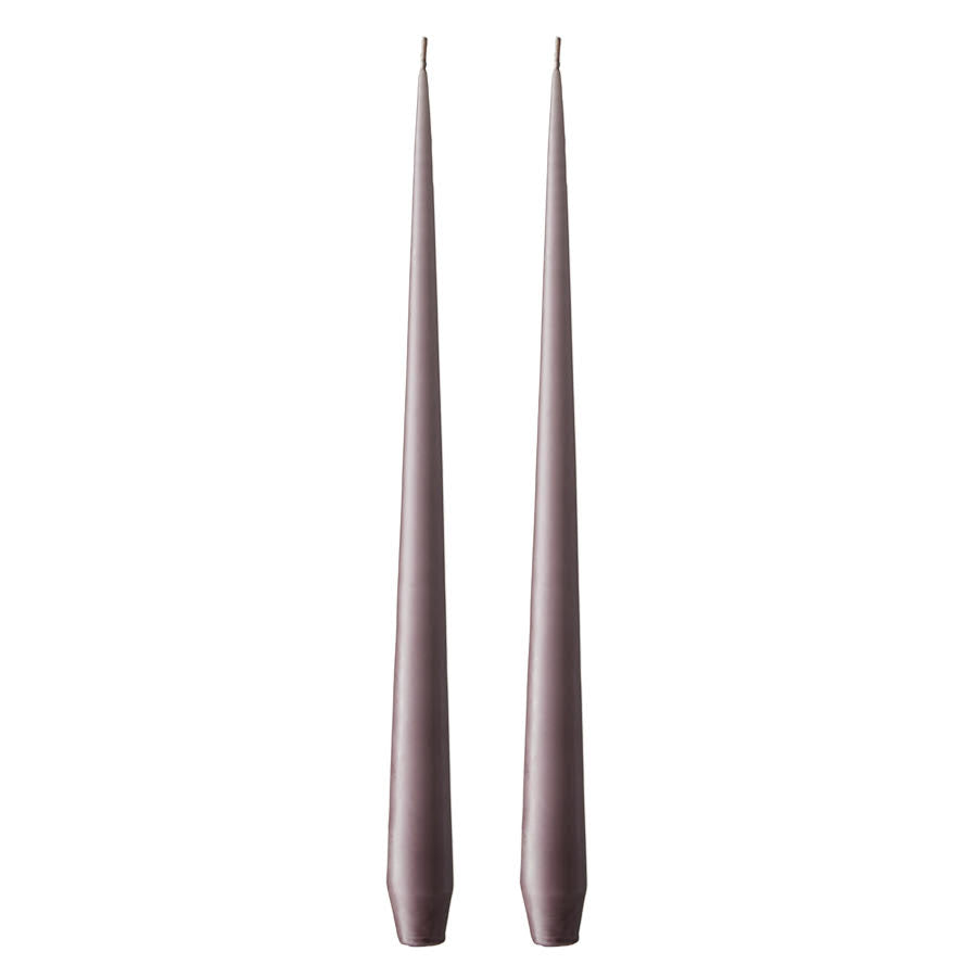 Set of Two Matte Tapered Candles in Plum(Colour No. 42) - 42cm Long