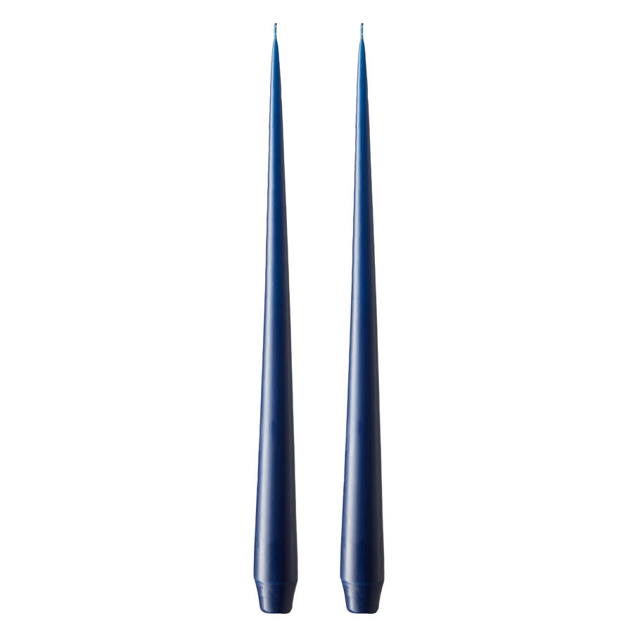 Set of Two Matte Tapered Candles in Royal Navy(Colour No. 28) - 42cm Long