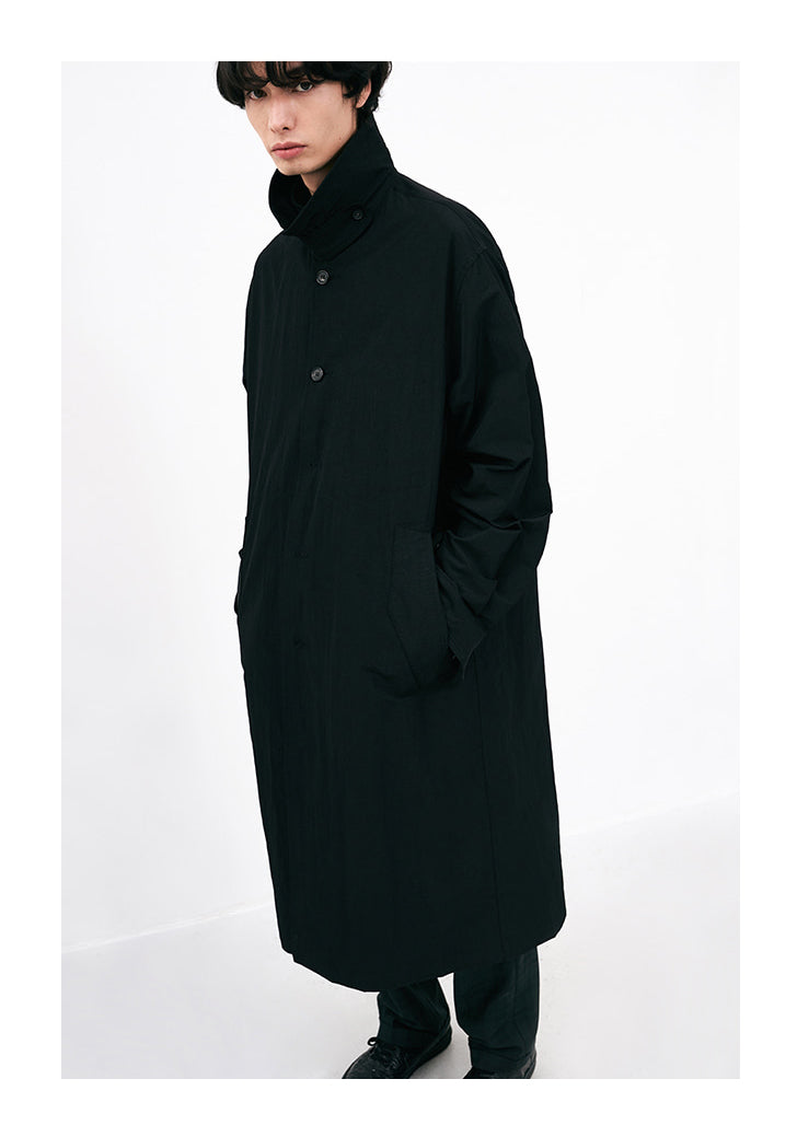 Ripstop Throat Latch Collar Trench Jacket in Black