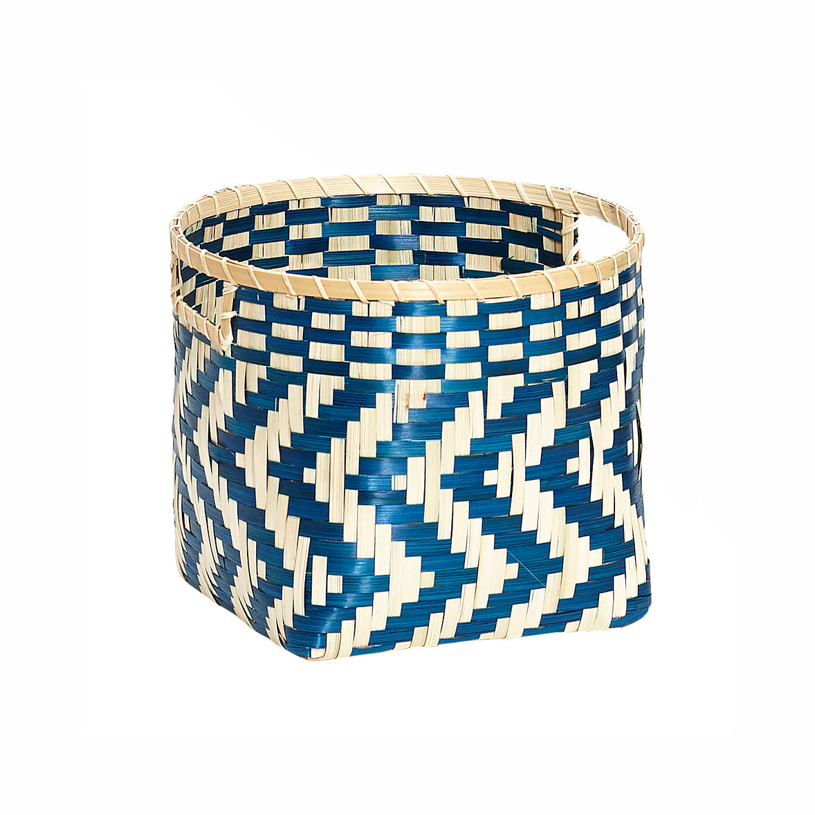 Blue and Natural Bamboo Zig Zag Woven Basket in Medium Size