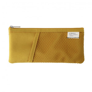 Mesh Pocket Pencil Pouch in Mustard Yellow