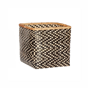Hubsch Black and Natural Bamboo Woven Square Basket in Medium Size
