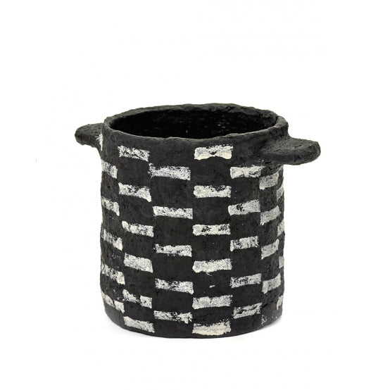 Black Papier Maché Pot with Horizontal Stripes