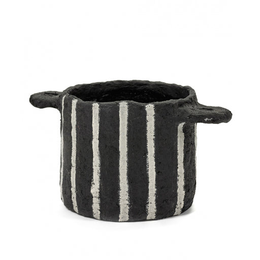Black Papier Maché Pot with Vertical Stripes
