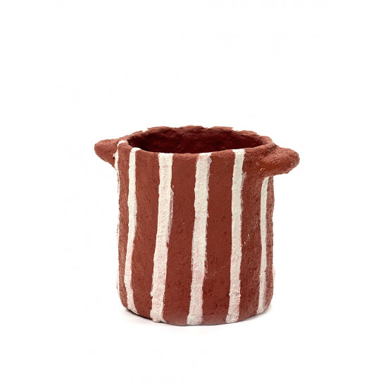 Red Papier Maché Pot with Vertical Stripes