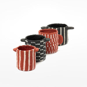 Red Papier Maché Pot with Short Vertical Stripes