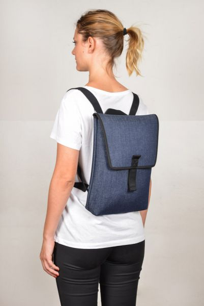 "Mini Backpack for 13"" Laptop in Denim Fabric"