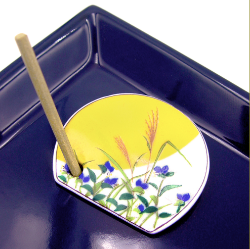 Decorative Porcelain Incense Holder with Blue Morning Glory Painting