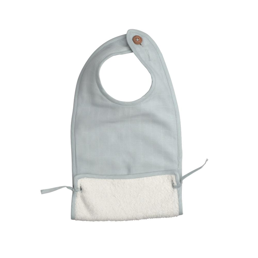 Muslin Feeding Bib in Foggy Blue